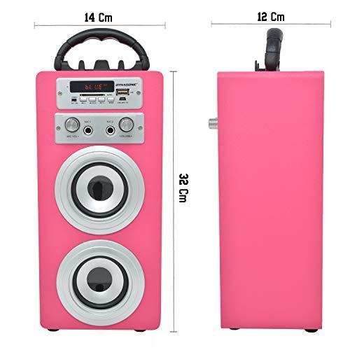 DYNASONIC - Tragbarer Bluetooth-Lautsprecher für Karaoke, 10W, 2 Mikrofon enthalten, Radio, USB und SD Reader, Rosa Farbe