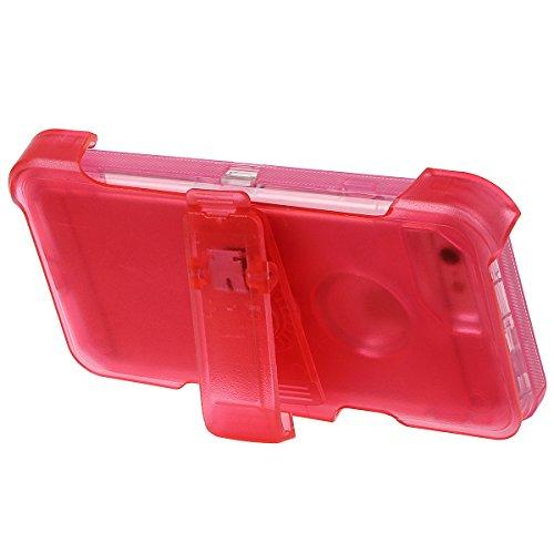 """xhorizon [PC+TPU] 3 Schichte Schutz-Hybrid-Rüstung haltbarer Stoßdämpfender gegen hohem Schlag aus starkem Gummi hybride verteidige Gehäuse-Bucht mit Gürtelclips für iPhone 7 Plus [5.5""""] Rote Mit Back Clip Shell"""