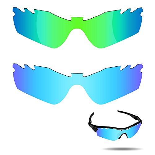 Fiskr Anti-Saltwater Polarisierte Ersatz Gläser für Oakley Radar Path Vented Sonnenbrille 2Paar Verpackt, Ice Blue & Emerald Green