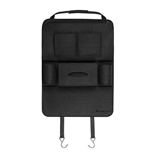 Salcar - Premium Rückenlehnenschutz,Auto Rücksitz-Organizer für Kinder, Autositz-Schoner wasserdicht, Rückensitztasche mit Multifunktionen, Rückenlehnen Tasche Trittschutz waschbare- Schwarz