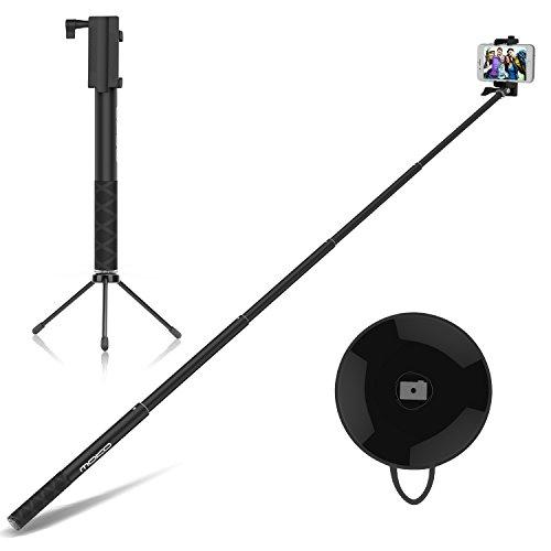 MoKo Aluminum Selfie Stick Stange Stab Monopod mit Bluetooth Auslöser Adjustable Halterung für iOS, Android Smartphone iPhone, Samsung, Huawei, LG, HTC, Microsoft Lumia, Sony, ASUS, Motorola, Schwarz