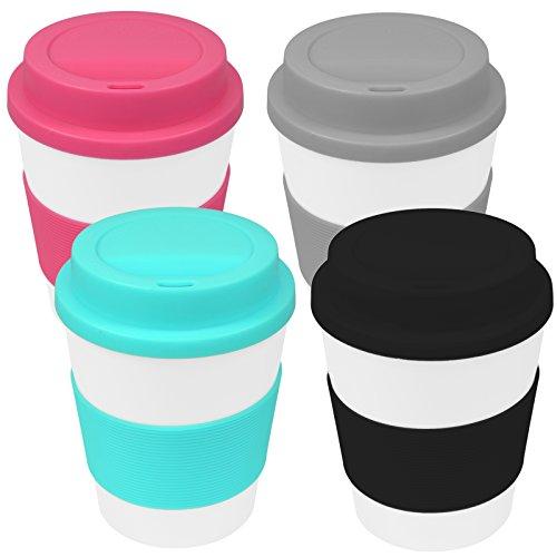 My-goodbuy24 Coffee-to-Go-Becher 4er Set Kaffeebecher Trinkbecher Reisebecher mit Deckel und Hitzeschutz aus Silikon – 350ml – Umweltfreundlich – Schwarz – Pink – Türkis – Anthrazit