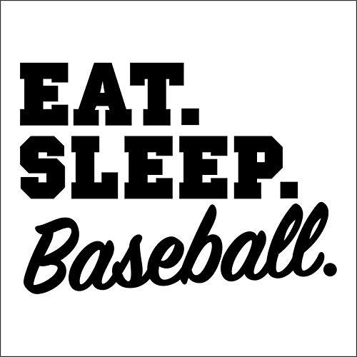 VINMEA Eat Sleep Baseball Vinyl Decal Sticker | Cars Trucks Vans SUVs Walls Cups Laptops | 5 Inch | Black | KCD2685B -