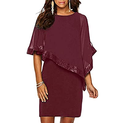 Ancapelion Sequined Overlay Cocktail Dress Chiffon Poncho Pencil Party Mini Dress