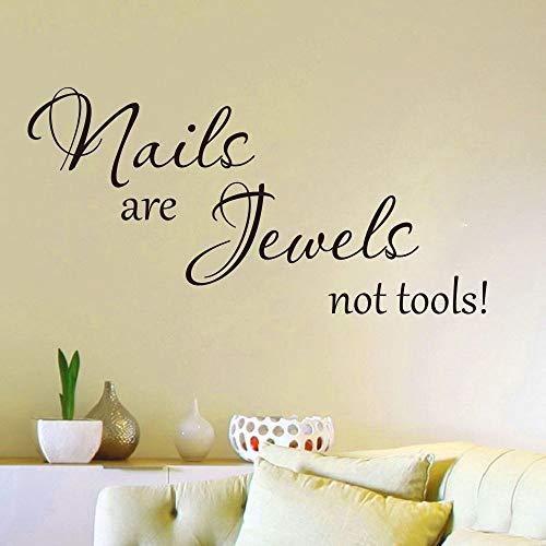 Nail is jewelry not a tool quote wall sticker girl room bedroom manicure nail salon de belleza cita inspiradora tatuajes de pared vinilo 85cmx42cm negro