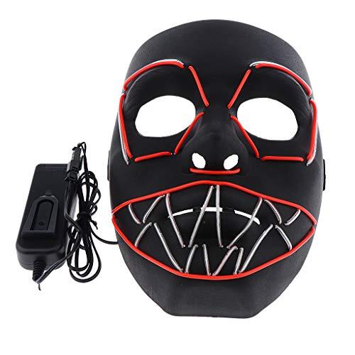 SM SunniMix Gruselig LED Maske Leuchtende Maske Cosplay Kostüm Zubehör - Rot und Transparent Blau
