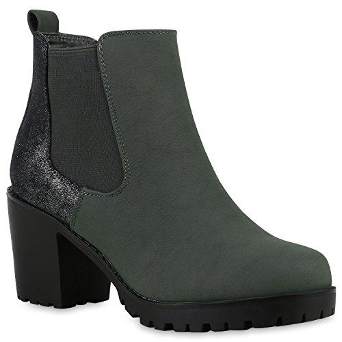 Damen Stiefeletten Wildleder-Optik Glitzer Chelsea Boots Animal Prints Knöchelhohe Stiefel Schuhe 125842 Dunkelgrün Silber 36 Flandell