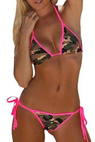 Frauen Heißen Camouflage - Print - 2 Stücke Seite Krawatte Dreieck Bikini Baden Hat Strand Badeanzüge Camo L (Seite Krawatte Bikini)