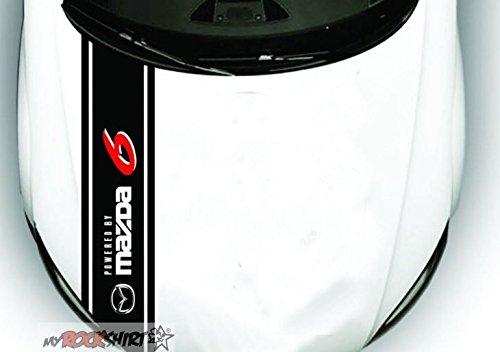 Mazda 6 Motorhaube Streifen 150 * 30 cm freie Farbwahl, ohne Hintergrund, UV und Waschanlagenfest, hochwertig geplottet, Decal, Sticker,Tuning, `+ Bonus Testaufkleber