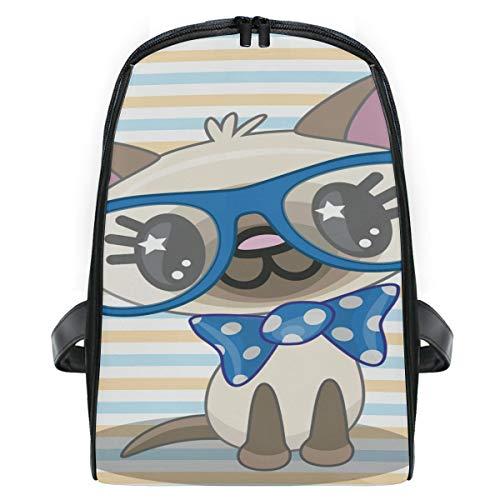 Mini Rucksack Daypack Cartoon Katze Kitty Streifen Hintergrund Rucksack Bag Lightweight für Mädchen Jungen (Mini-rucksack Kitty)