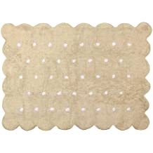 Aratextil. Alfombra Infantil 100% Algodón lavable en lavadora Colección Cookie Beige 120x160 cms