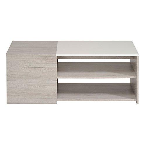 Tousmesmeubles Table Basse Gris/Blanc Brillant - Leo - L 108 x l 54 x H 41 - Neuf