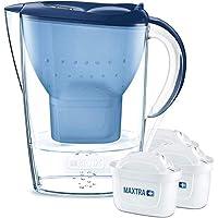 BRITA Wasserfilter Marella blau inkl. 3 MAXTRA+ Filterkartuschen – BRITA Filter Starterpaket zur Reduzierung von Kalk, Chlor, Blei, Kupfer & geschmacksstörenden Stoffen im Wasser