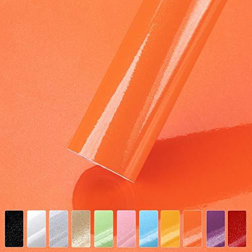 hlf carta adesiva per mobili 61cmx500cm arancione carta da parati vinilica per adesivi decalcomanie pareti porte finestre posteriori rotolo autoadesivo wall sticker per guardaroba