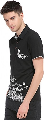 Sportides Herren Casual Dots Lapel Printing Short Sleeve Polo Shirt T_Shirt Tops JZA074 JZA077_LightBlue