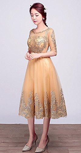 Drasawee Damen A-Linie Kleid Gold