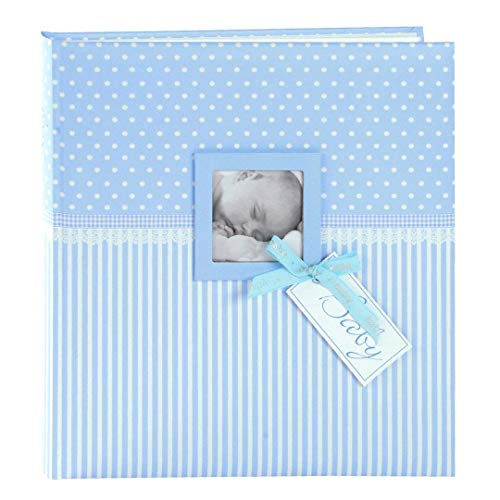 Goldbuch Babyalbum mit Fensterausschnitt, Sweetheart, 30 x 31 cm, 60 weiße Blankoseiten mit 4 illustrierten Seiten und Pergamin-Trennblättern, Kunstdruck, Blau, 15802