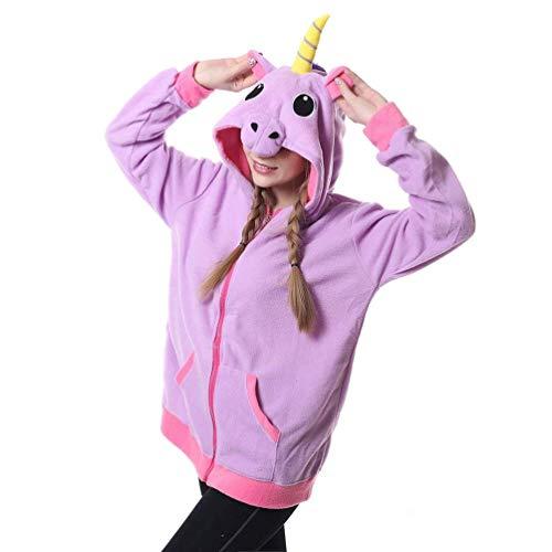 Adult Unisex Tier Hoodie Pink Unicorn Reißverschluss