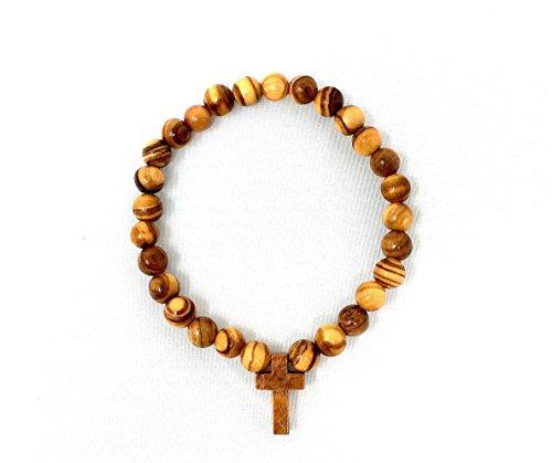 Armband mit Kreuz aus echten Olivenholz - handgemacht - Holzschmuck - Schmuck aus Olivenholz - auch als Fußkette tragbar