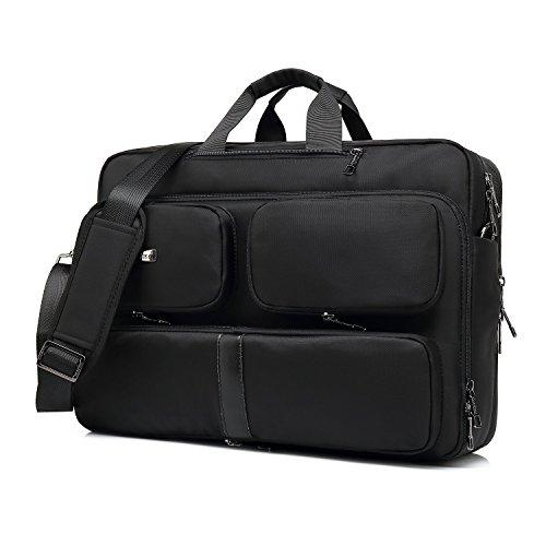 Srotek Laptop-Rucksack für Männer Convertible Tasche aus Nylon Wasserdicht 17,3 Zoll Koffer 5601 17.3 inches Schwarz