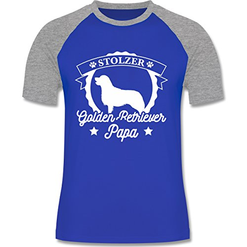 Shirtracer Hunde - Stolzer Golden Retriever Papa - S - Royalblau/Grau meliert - L140 - Herren Baseball Shirt (Golden Retriever Baseball)