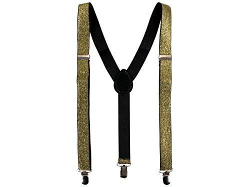 Alsino Hosenträger Gold Träger mit Metallic-Look (Hoträ-14) - Breite: 2,5 cm - 3-Clips in Y-Form One-Size (Hose Kostüm Bretelles)