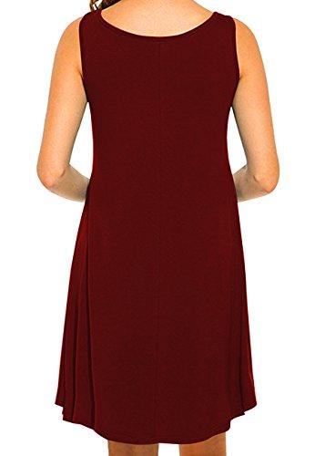 OMZIN Frauen Sleeveless Baumwolle beiläufiges Sleeveless ausgestelltes Behälter-Kleid S-2XL 1-Wein Rot