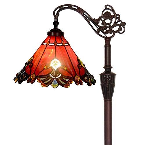 Bieye L30681 Lampadaire de lecture en verre teinté de style baroque de style Tiffany avec 13 po de largeur à la main, abat-jour orientable, direction réglable