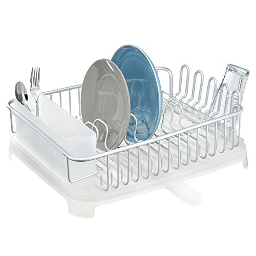 mDesign Escurreplatos para fregadero de aluminio ? Escurridor de vajilla con cesta para cubiertos y con desagüe ? Escurridor de platos, cubiertos, vasos y tazas ? plateado