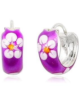 JAYARE Kinder-Creolen Blume Blüte 925 Sterling Silber Emaille 12 x 5 mm lila violett Ohrringe