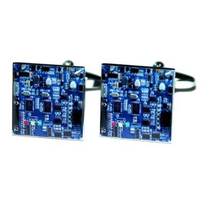 """Novelty Manschettenknöpfe, Design \""""Leiterplatte\"""", Blau"""
