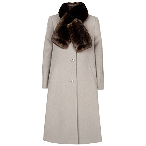 Ex Jacques Vert Winter Coat with Faux Fur Scarf Womens Long Jacket Grey Wool Blend Single Breasted Button Fastened Ladies Size 12