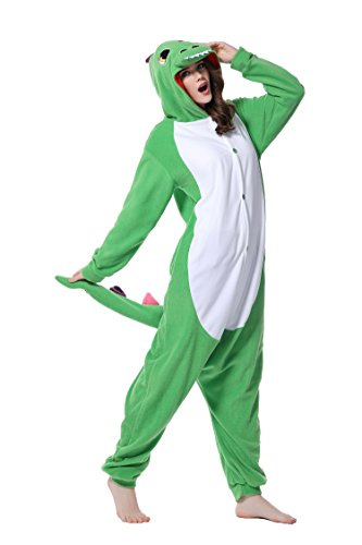 DAN SPEED - Anime Costume Cosplay Combinaison Grenouillères Vêtements de nuit (L(168-178cm), vert clair dinosaure) (Veste Costume Dessin)