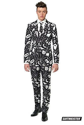 Generique - Schwarz Weißer Suitmeister Anzug für Herren Halloween XL