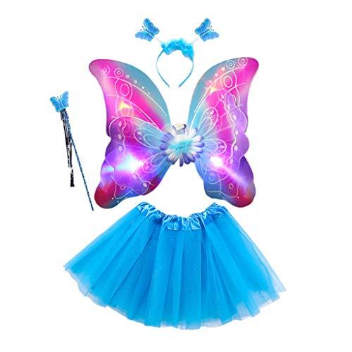 Pennyninis Mädchen-Kostüm, Tüll, Tutu, Rock, doppelschichtig, Schmetterlingsflügel, Zauberstab, Stirnband, Prinzessin, Bühnenkleid, 4 Stück Gr. One size, 3 (Für Kleinkind Led-halloween-kostüm)