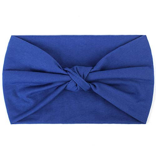 samSN Frauen Verknotet Haarband Mode Böhmen Stirnbänder Für Mädchen Weibliche Yoga Spa Sport Elastische Haarbänder Baumwolle Turban DQ711 Königsblau