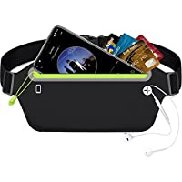 Linkax Running Belt Waist Pack Fitness Belt Ultra Slim & Adjustable Elastic Strap with Headphone Hole Fits for all Mobile Phones Size Below 6 inch & Acessories for Travel Running Cycling and Outdoors