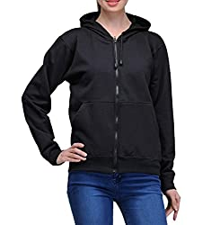 Scott Womens Premium Cotton Pullover Hoodie Sweatshirt with Zip - Black - 1.1_lsshz8_S