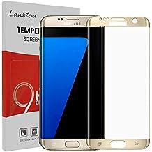 Samsung Galaxy S7 Edge Protector de Pantalla, Lanhiem Cristal Templado [Caso amistoso] Cobertura Completa, Anti-Burbuja, Anti-Scratch, Fácil Instalación - 3D Curvo Protector de Pantalla para Galaxy S7 Edge -oro