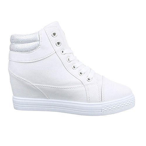 Scarpe Da Donna Ital-design, 51155-y, Scarpe Casual Tacco A Zeppa High-top Sneaker High-top Zeppa Bianco