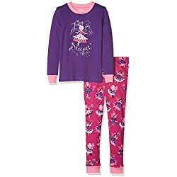 Hatley Girl's Organic Cotton Long Sleeve Appliqué Pyjama Sets Fairy SleeperApplique, 7 Years