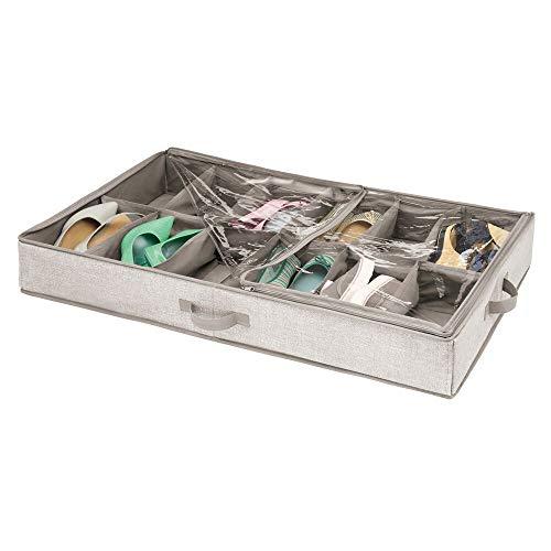 mDesign Unterbettkommode für Schuhe - Schuhaufbewahrung in 12 Fächern - Schuhkasten aus Polypropylen mit durchsichtigem Deckel und Reißverschluss - für Sneaker, Sandalen etc. - beige