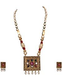Hermynee Exclusive Square Shaped Designer Gold Plated Traditional Necklace Set