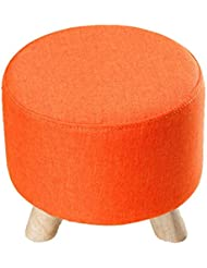 Uus Dreibeiniger Kleiner Schemel - Waschbare Und Veränderbare Schuhe Hocker-europäische Gewebe-Sofa-Bank-Abnutzungs-Schuhe Niedriger Schemel-Fester Holzpier Schemel (Farbe : Orange)