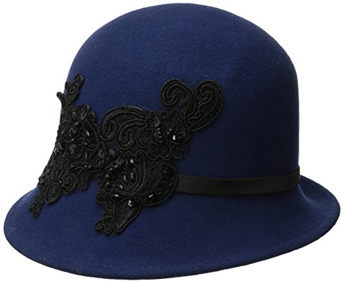san-diego-hat-company-womens-wool-felt-cloche-hat-with-sequin-lace-aplique-trim-navy-one-size