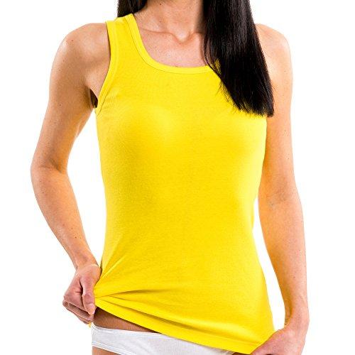 ngshirt in Trend-Farben aus 100% Baumwolle, Tank Top auch in Übergrößen, längeres Shirt für drüber und drunter, Größe:32/34 (XS), Farbe:California gelb ()