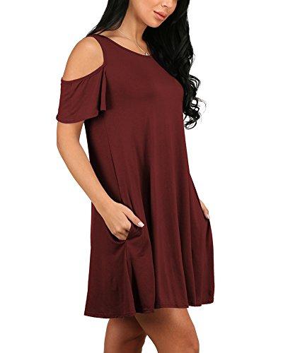 Damen Kurzarm Rundhals Beiläufig T-Shirt Kleid Shirtkleid Blusenkleid Tunika-Kleid Longshirt Burgunderrot