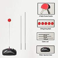 Table Tennis Trainer Movable Elastic Soft Shaft Vision Training Altura Ajustable, 3 Dispositivo De Rebote Flexible, 5 Bolas Y 2 Murciélagos Ejercitador De Estiramiento Único para Adultos Y Niños