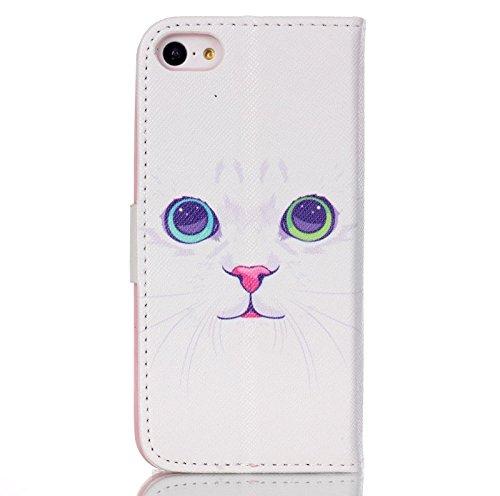 iKASUS - Custodia a portafoglio in pelle sintetica, con supporto a leggio e tasca per carte di credito, per Apple iPhone SE 2016& iPhone 5S 5 White Cat