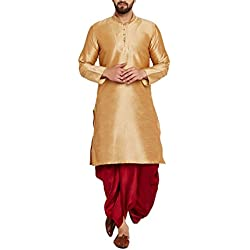 Sojanya Men's Silk Dhoti Kurta Set(SJR_DhotiKurta_003-40_Gold and Maroon_Large)